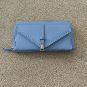Blue Faux Leather Wallet